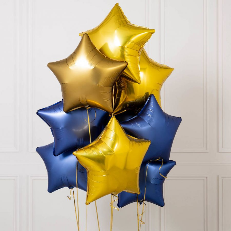 """Десять надутых гелием воздушных шаров из фольги 21"""" звезды"""