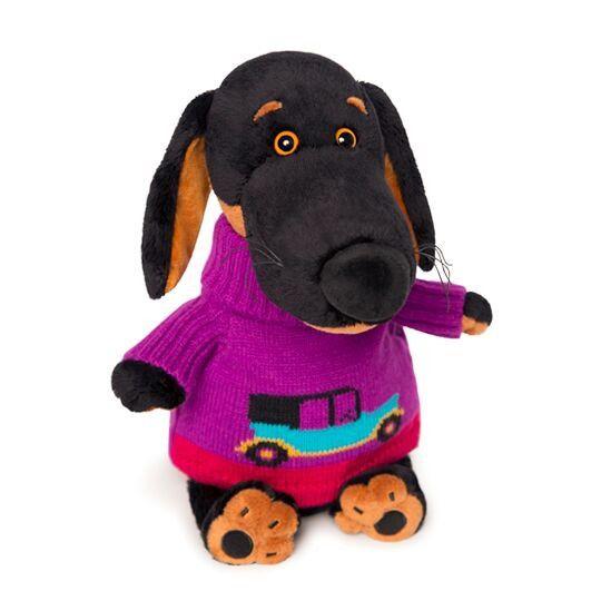 Такса Ваксон в свитере с машинкой