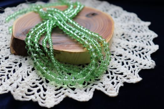 Бусины стеклянные, граненый рондель, нитка 50 см, цвет 309, Светло-зеленый