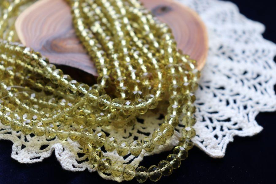 Бусины стеклянные, граненый рондель, нитка 50 см, цвет 310, Оливковый