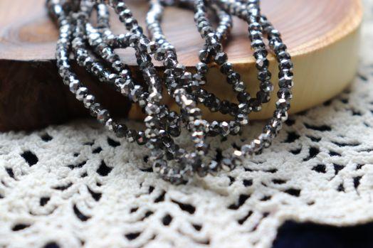 Бусины стеклянные, граненый рондель, нитка 50 см, цвет 617, Темное Серебро с прозрачным