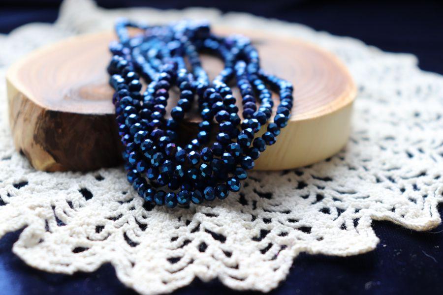 Бусины стеклянные, граненый рондель, нитка 50 см, цвет 611, Синий металлик