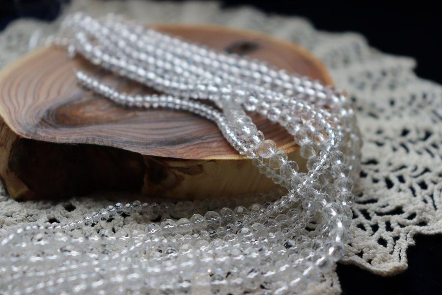 Бусины стеклянные, граненый рондель, нитка 50 см, цвет 301, Прозрачный