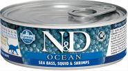 Farmina N&D Cat Ocean Консервы для кошек, сибас, кальмар и креветки 80 гр