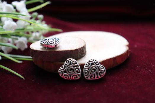 Металлические бусины, Ажурное сердце, 3 шт/упак