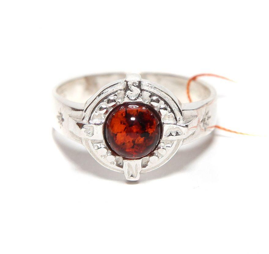 """Кольцо-перстень с янтарем """"Фортуна"""""""