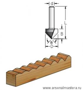 Фреза канавочная V-образная  9.5x11x43x8 Угол 90 WPW V900955