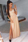 Бежевое вечернее платье  в пол с кружевом и разрезом