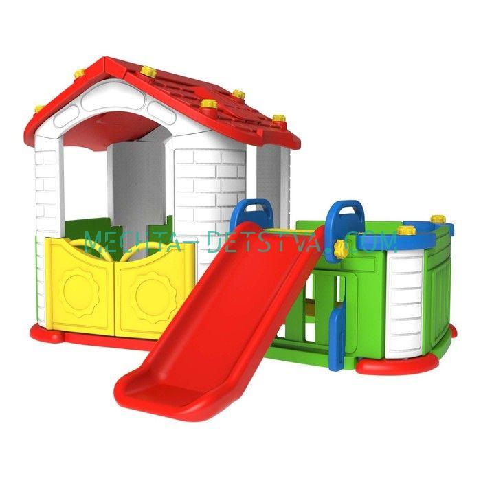 Игровой домик с забором и горкой CHD- 803