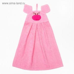 """Полотенце-рушник махровый """"Хрюша"""", 43?35 см, розовый, хл100%, 300 г/м?"""