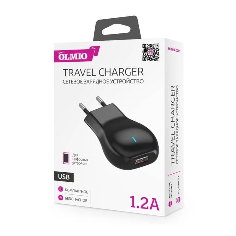 Сетевое зарядное устройство (блок питания) с USB разъемом, 1.2А, OLMIO