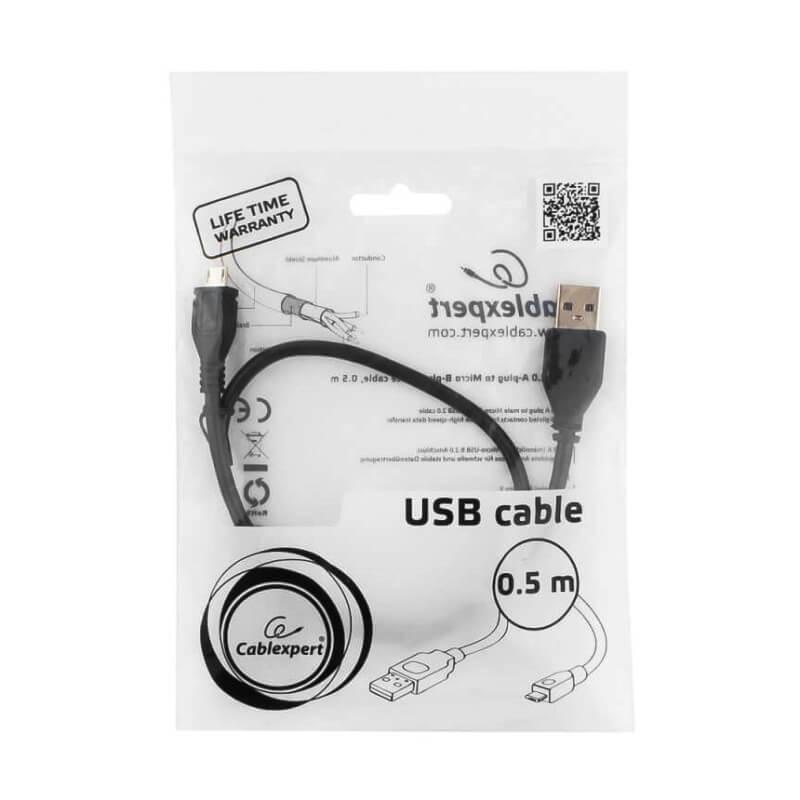 Кабель Micro USB кабель Cablexpert, 0.5м, черный