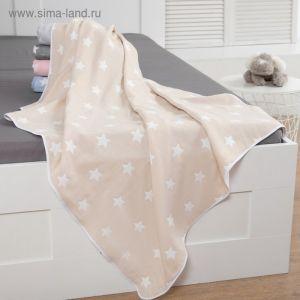 Одеяло детское «Крошка Я» Бежевые звёзды 110?140 , жаккард, 100% хлопок