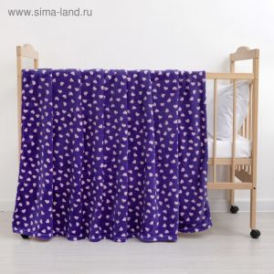 Плед «Сердечки» цвет фиолетовый 80?100 см, пл. 230 г/м?, 100% п/э