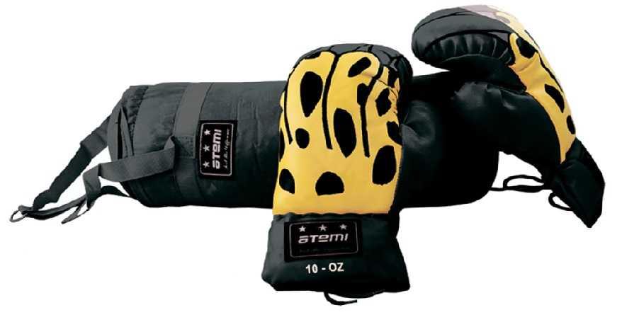 Набор боксерский детский (мешок + перчатки) ATEMI черный BS