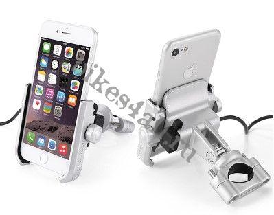 Держатель для телефона с USB - серый