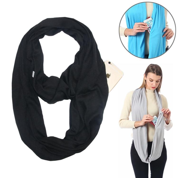Бесконечный шарф (снуд) с потайным карманом на молнии Hot Pocket Scarf, цвет черный