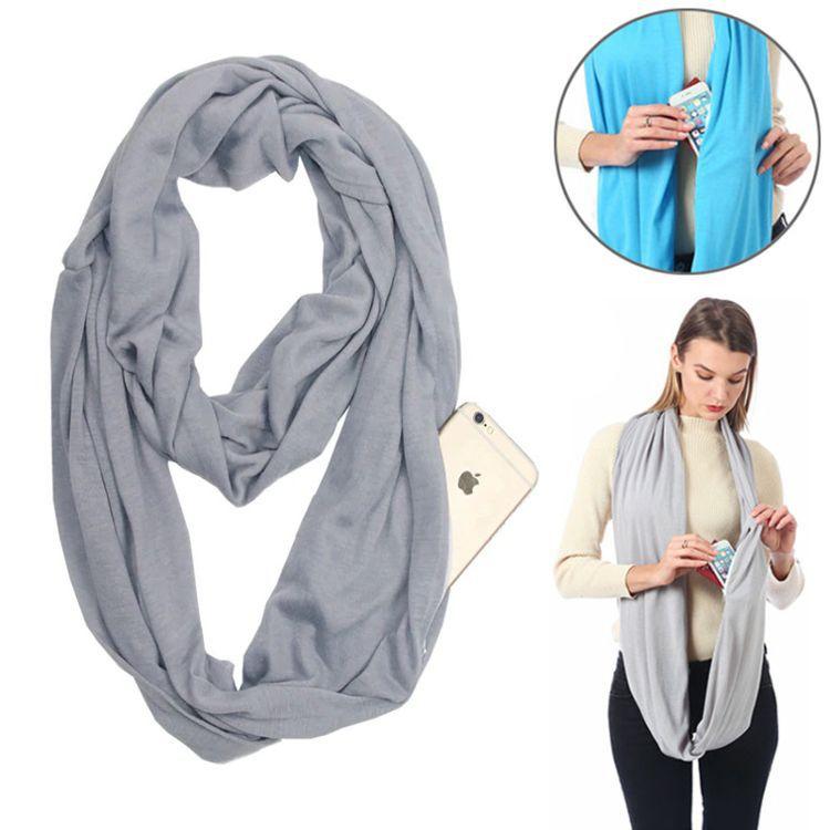 Бесконечный шарф (снуд) с потайным карманом на молнии Hot Pocket Scarf, цвет серый