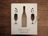 Коробка для бокалов и бутылки на заказ