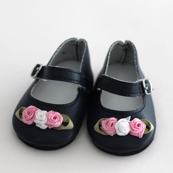 Обувь для кукол туфельки (балетки) 7,5 см - Чёрные