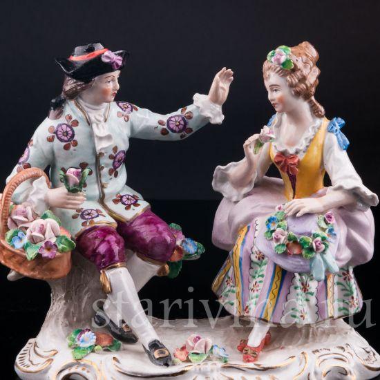 Изображение Пара с цветами, Sitzendorf, Германия, вт. пол. 20 в.