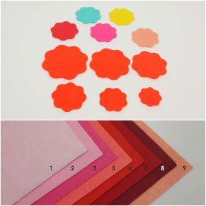 """Фетровые пяточки круглые """"волна"""" 25мм, цвет № 03 ярко-розовый (1уп = 363шт)"""