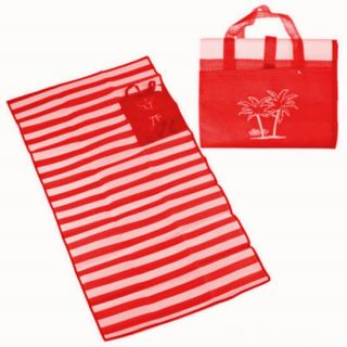 Пляжный коврик с ручками для переноски, 120х170 см, Цвет: Красный