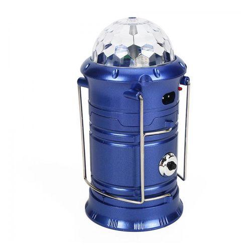 Складной кемпинговый фонарь с диско-шаром 4 в 1, 19 см: цвет - синий.