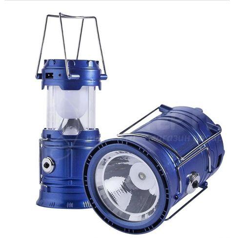 Складной кемпинговый фонарь 3 в 1, 17 см: цвет - синий.