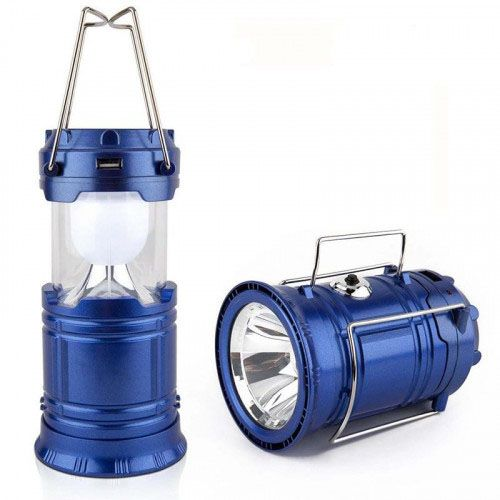 Складной кемпинговый фонарь 3 в 1, 14 см: цвет - синий.