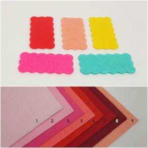 """Фетровые пяточки прямоугольные """"волна"""" 15*30мм, цвет № 03 ярко-розовый (1уп = 486шт)"""