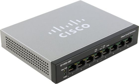 Коммутатор Cisco 8-Port 10/100 PoE, SF100D-08P