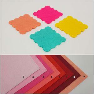 """Фетровые пяточки квадратные """"волна"""" 20мм, цвет № 03 ярко-розовый (1уп = 588шт)"""