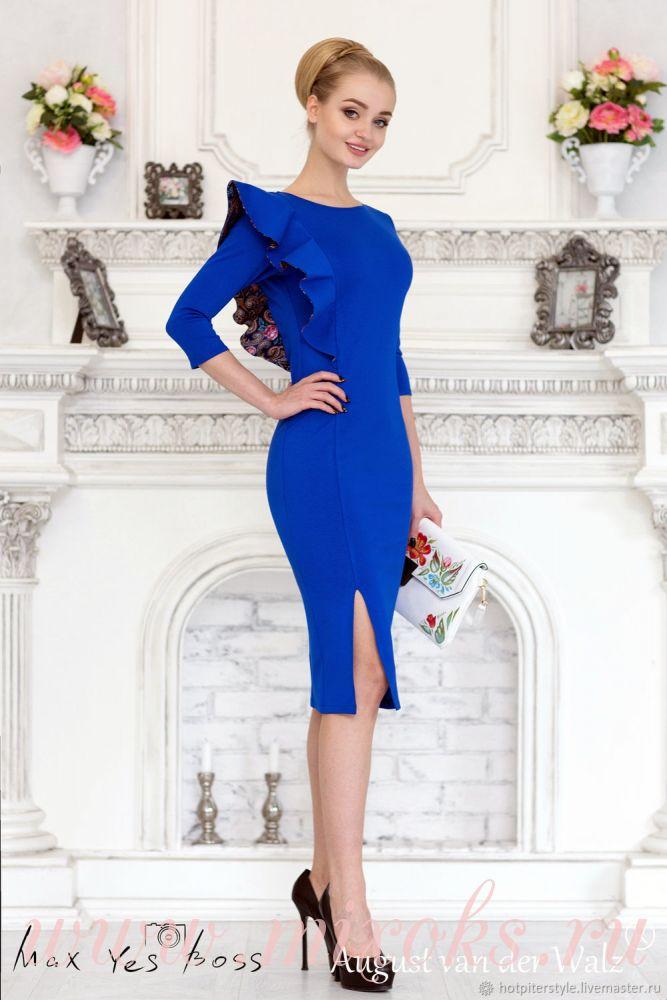 Платье синие с воланом на плече