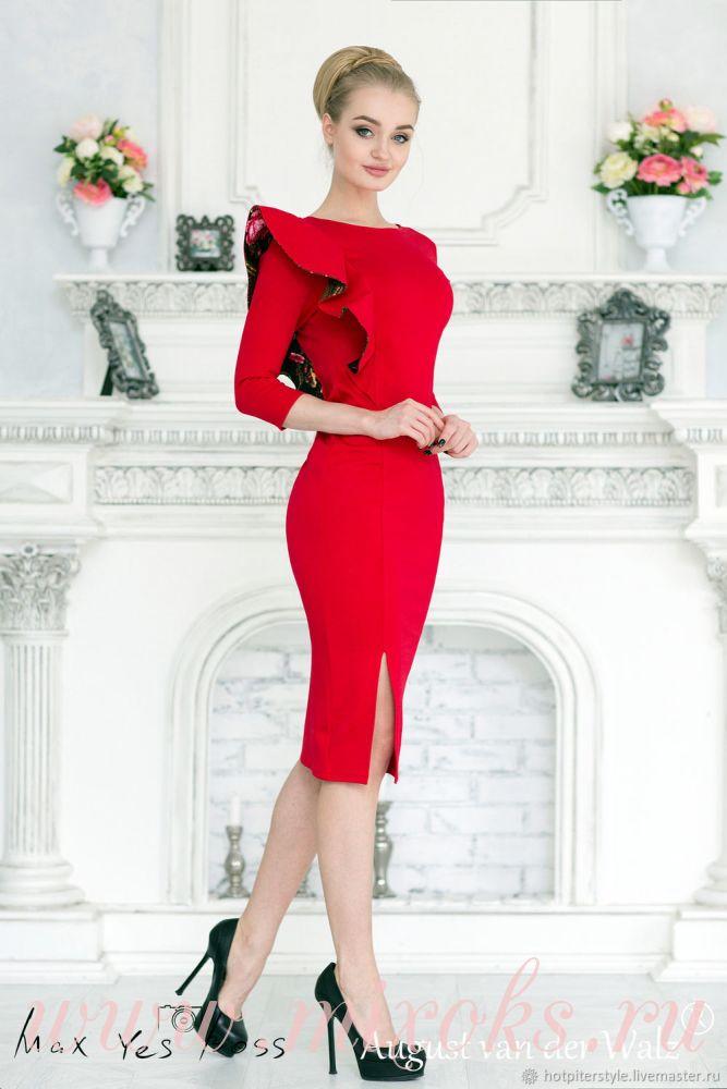Платье красное с воланом на плече
