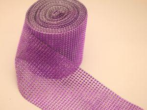 """Лента декоративная """"имитация страз"""", ширина 12 см, длина 10 ярдов, цвет: 23 фиолетовый"""
