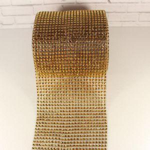 """`Лента декоративная """"имитация страз"""", ширина 12 см, цвет: красное золото"""