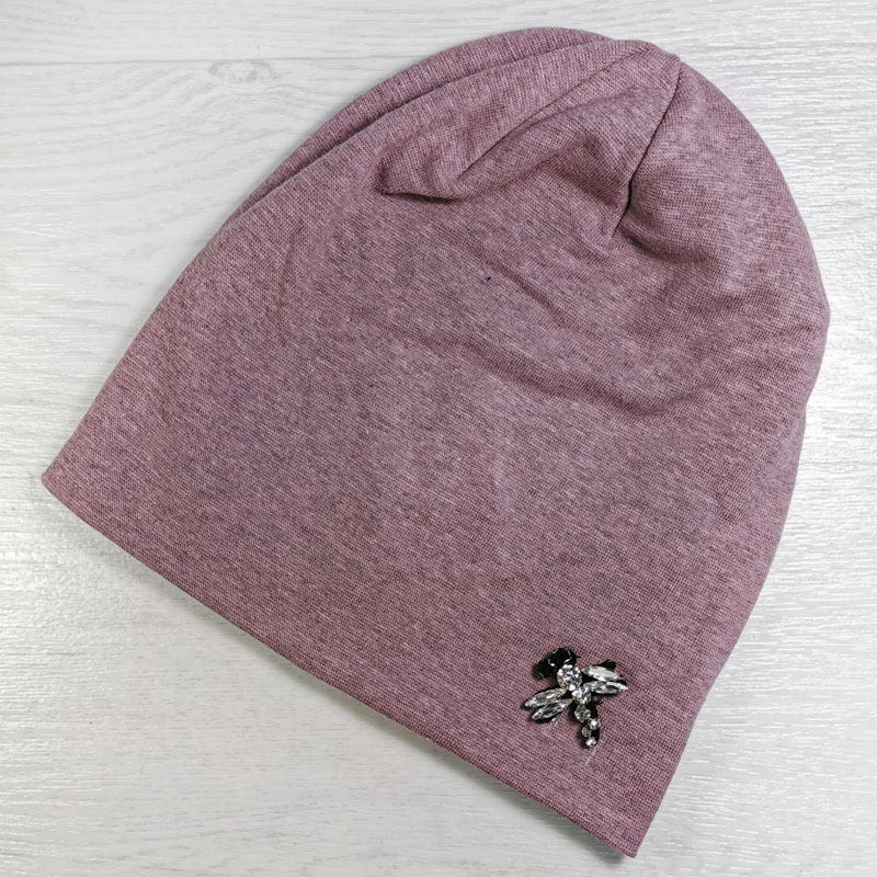 вд1471-47м Шапка трикотажная двойная шестиклинка Стрекоза розово-серый меланж