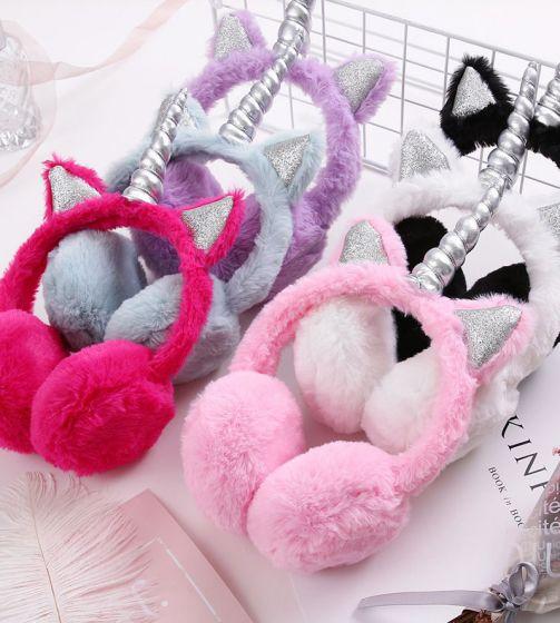 Плюшевые наушники кошачьи ушки единорожика