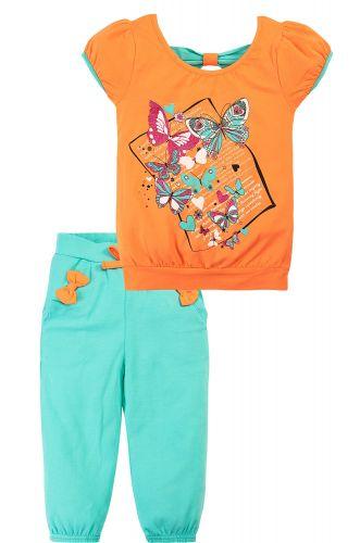 Костюм для девочек 1-4 лет Bonito оранжевый, бирюзовый