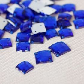 Стразы пришивные, 8*8мм, 50шт, квадратные, цвет синий