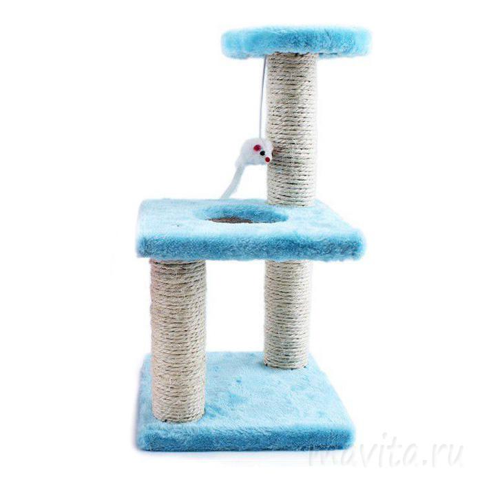 Трёхъярусный игровой комплекс-когтеточка с мышкой, Цвет Голубой