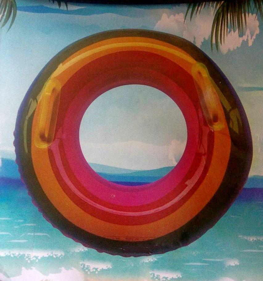 Радужный надувной круг с ручками