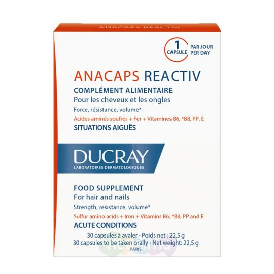 Ducray Anacaps Reactiv Витамины для волос и ногтей, 30 капс.