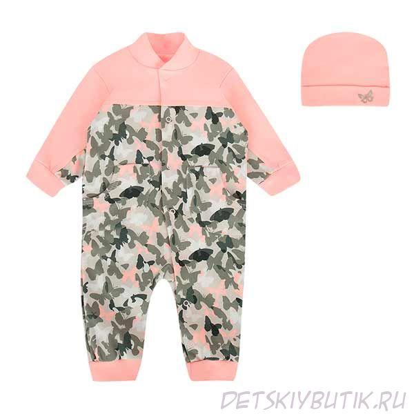 Комплект «Саванна» (комбинезон+шапочка) розовый, LEO