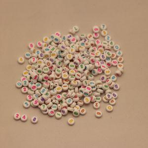 Бусины с цифрами 7 мм, толщина 3мм, цвет МИКС (1уп = 20шт), Арт. БС1111-20
