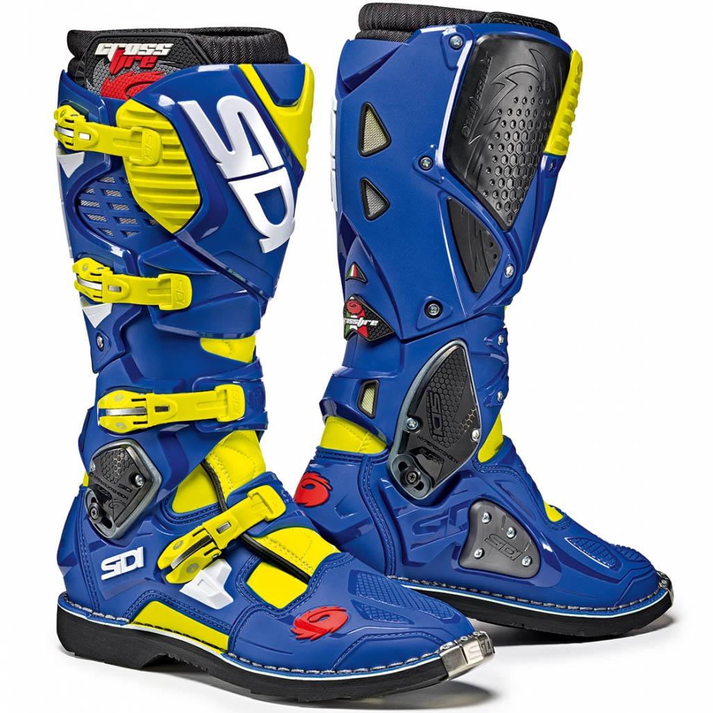 Sidi - Crossfire 3 Yellow Fluo/Blue мотоботы, жёлто-синие