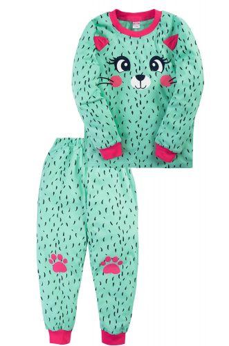 Пижама для девочки 3-7 лет Bonito BK976PJ зеленая, котёнок