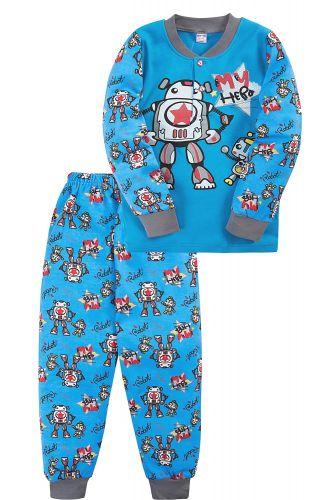 Пижама для мальчика 2-5 лет Bonito BK3003PJ голубая, роботы