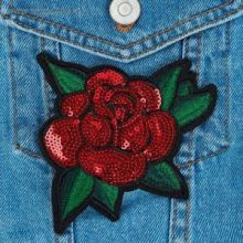 """Термоаппликация """"Роза"""", с пайетками, 12*11см, цвет красный"""
